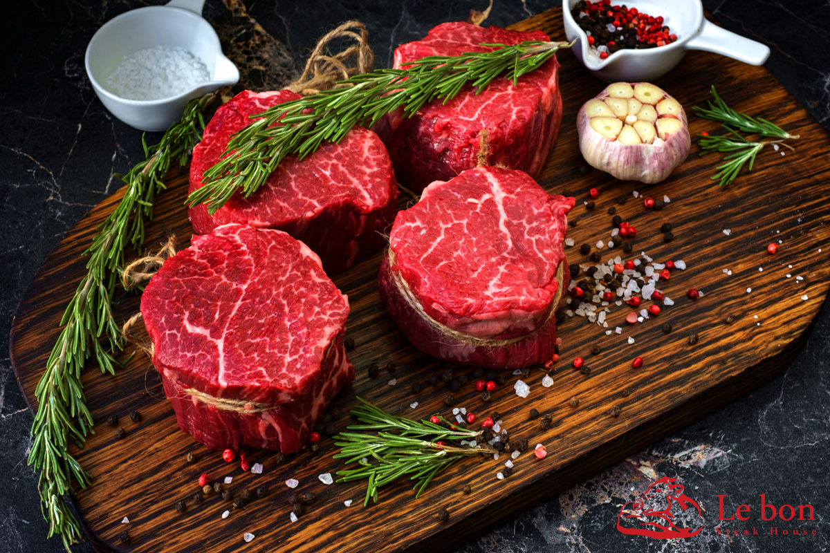 raw fillet Mignon steaks
